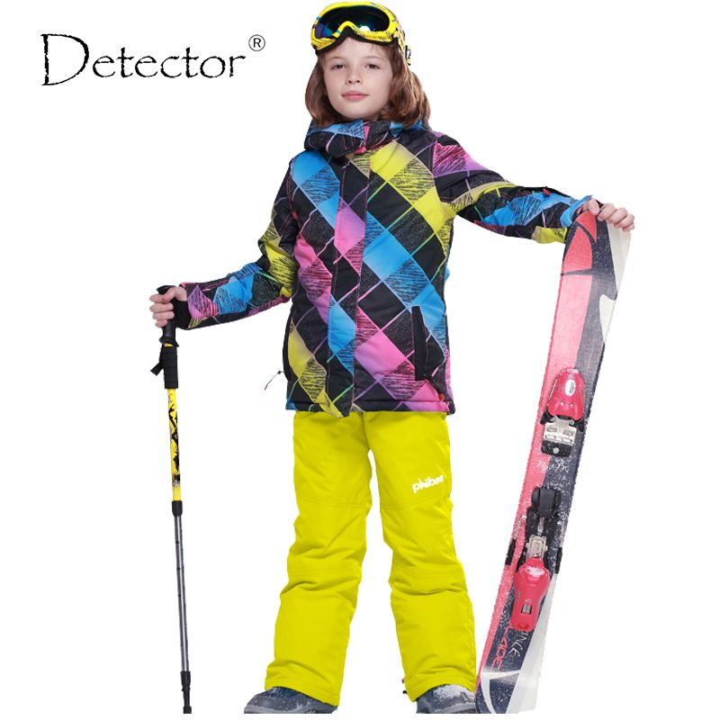 Detector Boys Ski Jacket Children Waterproof Windproof Clothing Kids Ski Set Winter Warm Snowboard Outdoor Ski Suit Boys Ski Set