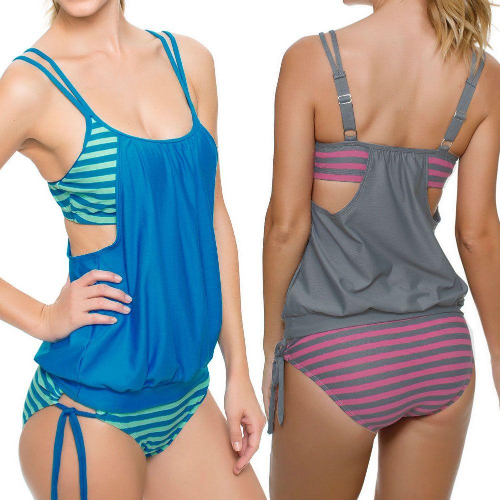 2018 Womens Sexy One Piece Bikini Multicolour Stripes Tankini Swimsuit Beach Swimwear Suit Biquini Bathing Suits Plus Size