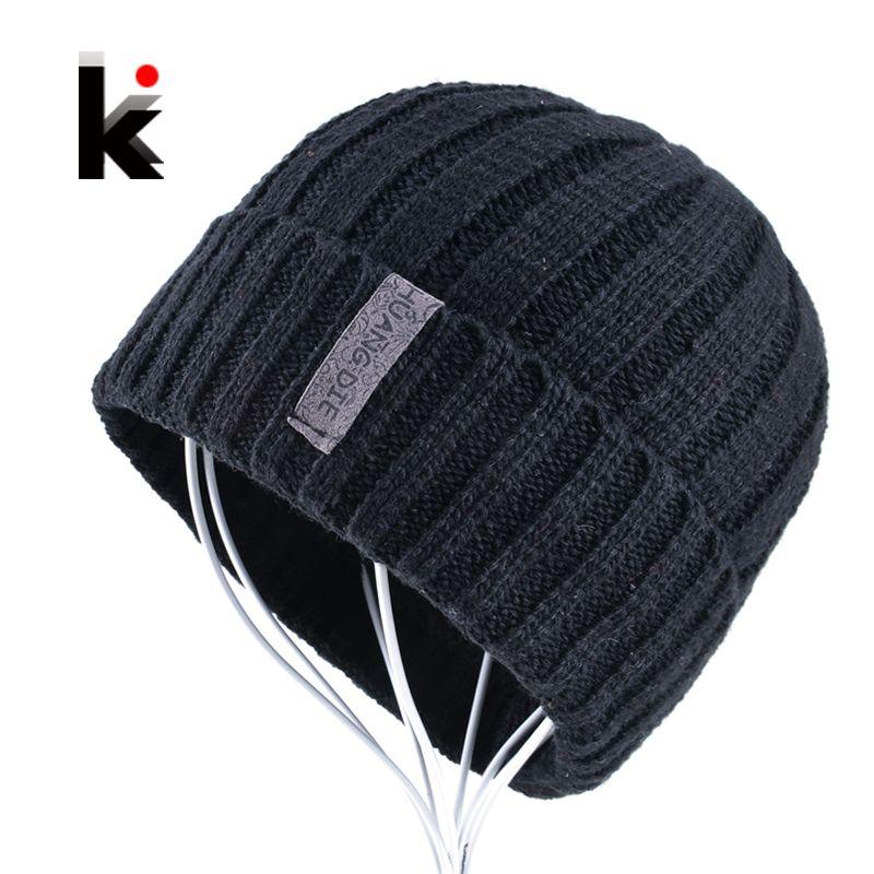 Mens skullies winter knitted hat beanie hats for men beanies warm bonnet enfant wool cap boy striped casual caps gorro