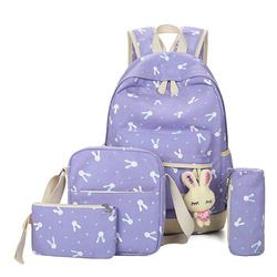 4Pcs/Sets 2018  Cartoon Rabbit Printing School bag Canvas Schoolbags for Teenage Cute Girls Bookbag Children