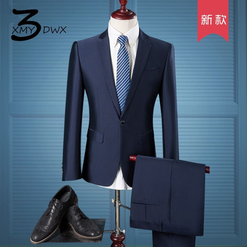 XMY3DWX (Jackets+Pants) Men's high-end business BLAZERS two-piece suit/male Pure cotton slim Fit Fashion jacket man coat