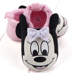 Nouveau-né Confortable Pantoufles Chaussures De Bébé En Bas Âge Mignon Minnie Mickey Semelle Souple infantile Berceau Chaussures Garçon Fille Premiers Marcheurs Taille 3 4 5