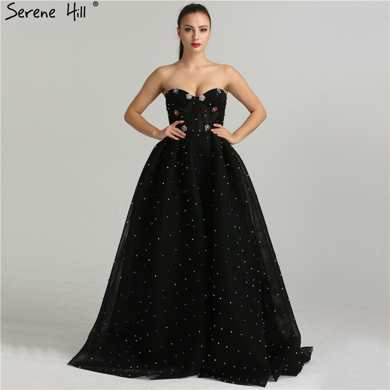2018 Simple Sweetheart Handmade Flowers Evening Dresses Floor Length Black Party Gown Robe De Soiree Serene Hill BLA6347