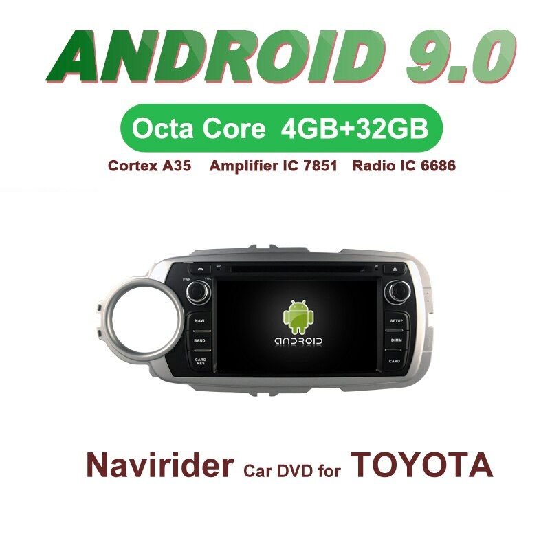 Navirider GPS Android 9.0 bluetooth stereo 4-Core 8-Core auto DVD player für TOYOTA YARIS 2012 kopf einheit autoradio zubehör