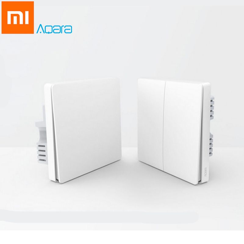 Original Xiaomi Aqara Smart Light Control Fire Wire <font><b>Zero</b></font> Line ZiGBee Double Single Key Wall Switch Version Mi Home APP Control