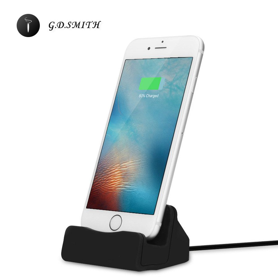 G.D.SMITH Charging Dock Station Cell Phone Desktop Docking Charger USB Cable For Apple iPhone 5 5S SE 6s 6 7 Plus