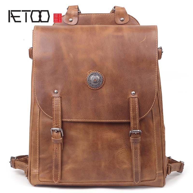 AETOO New arrival men's leather backpack handmade cowhide leather 15-inch computer bag travel large capacity backpacks men