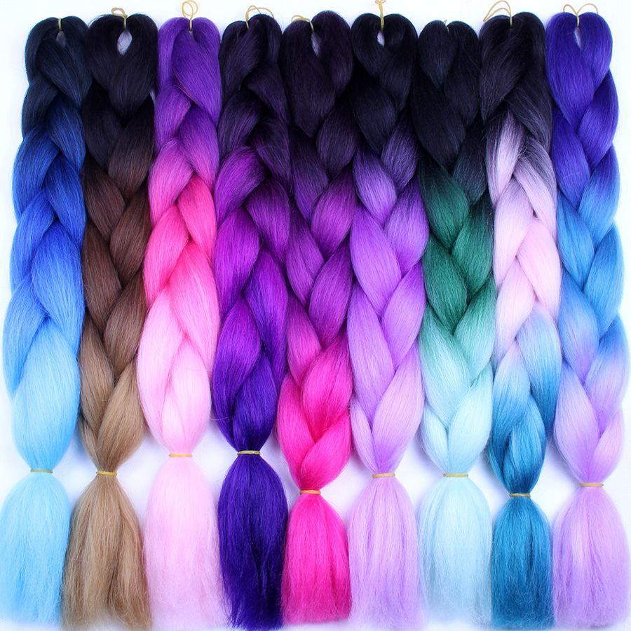 FALEMEI Crochet Hair Extensions Ombre Kanekalon Braiding Hair One Piece 100g/Pack 24Inch Afro Bulk Hair Jumbo Crotchet Braids