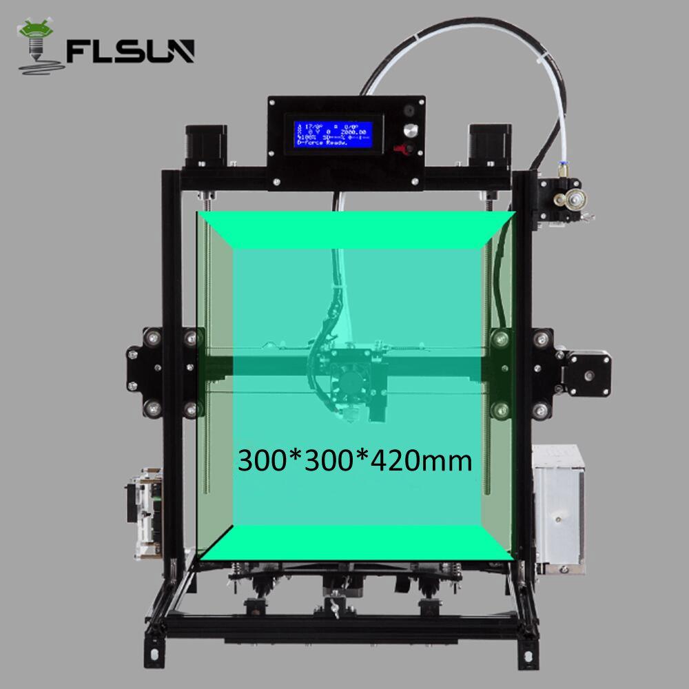 Flsun i3 3D-принтеры широкоформатной печати Размеры 300x300x420 мм Сенсорный экран двойной экструдер DIY 3D-принтеры комплект с подогревом 2 рулона нити