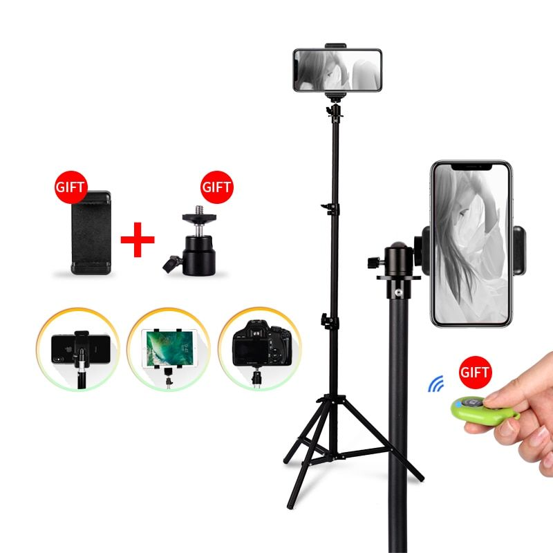 1/4 Screw Head Universal Portable Aluminum Stand Mount Digital Camera Tripod For Phone With Bluetooth Remote Control Selfie