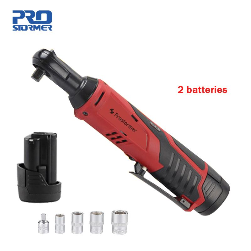 Prostormer 12V Rechargeable Ratchet Wrench 2 Lithium Batteries 90 Degree Electric Wrench Portable Fast Charge Wrench Stage Truss