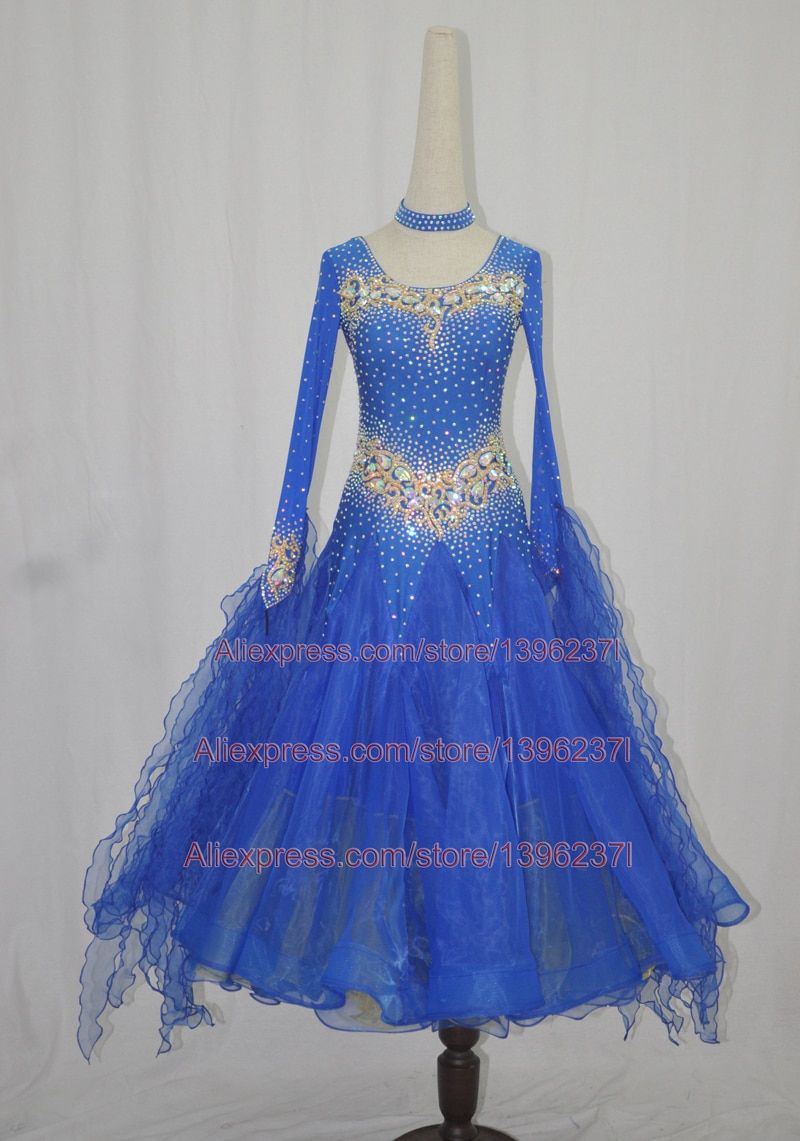 Women Standard Ballroom Dance Dress 2018 New Design High Quality Elegant Royal Blue Waltz Ballroom Competition Dance Dresses