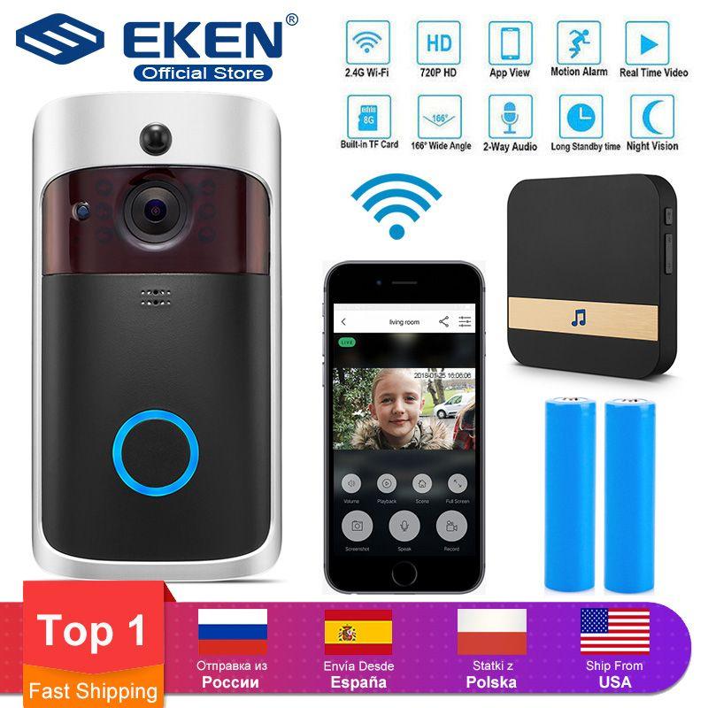 EKEN V5 WIFI Doorbell Smart IP Video Intercom Video Door Phone Door Bell Camera For Apartments IR Alarm Wireless Security Camera