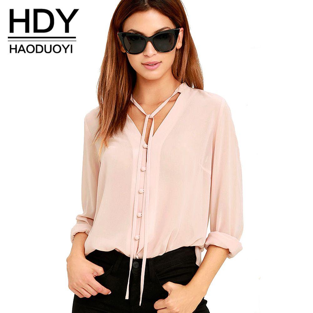 HDY Haoduoyi Solide Couleur Mode Femmes Chemises Unique Poitrine Col V À Manches Longues Blouse Casual Brève Style Mousseline de Soie Chemise Femelle
