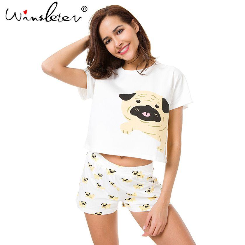 Mignon Chien Pajama Set Femmes Roquet Impression 2 Pièces Mis en Culture Top + Shorts Élastique Taille Pyjamas Lâche Home Wear Salon pyjamas S6801