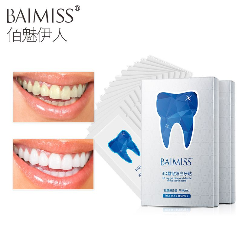 BAIMISS 3D White Gel Teeth Whitening Strips Oral Hygiene Care Teeth Strips Whitening Dental Bleaching Tool 14Pcs/7Pair