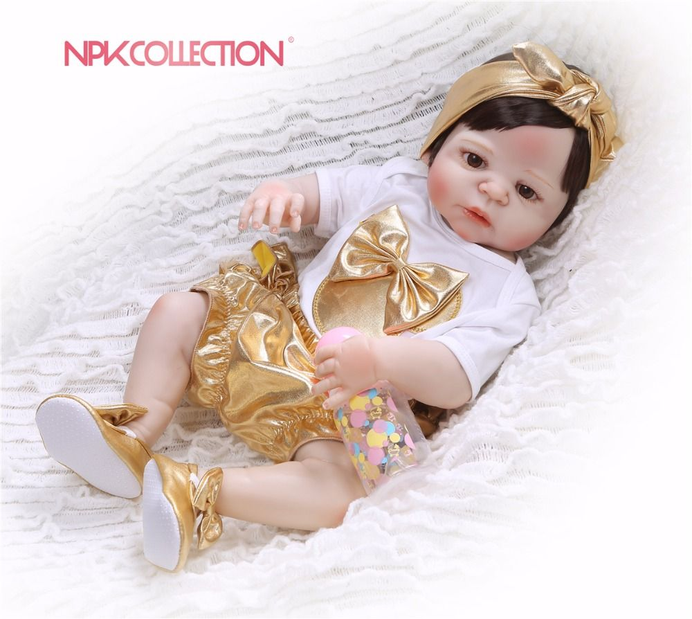 NPKCOLLECTION 2018 New design golden Doll Full Silicone Body Lifelike Reborn Doll Handmade Baby Toy hot sale Xmas Gifts
