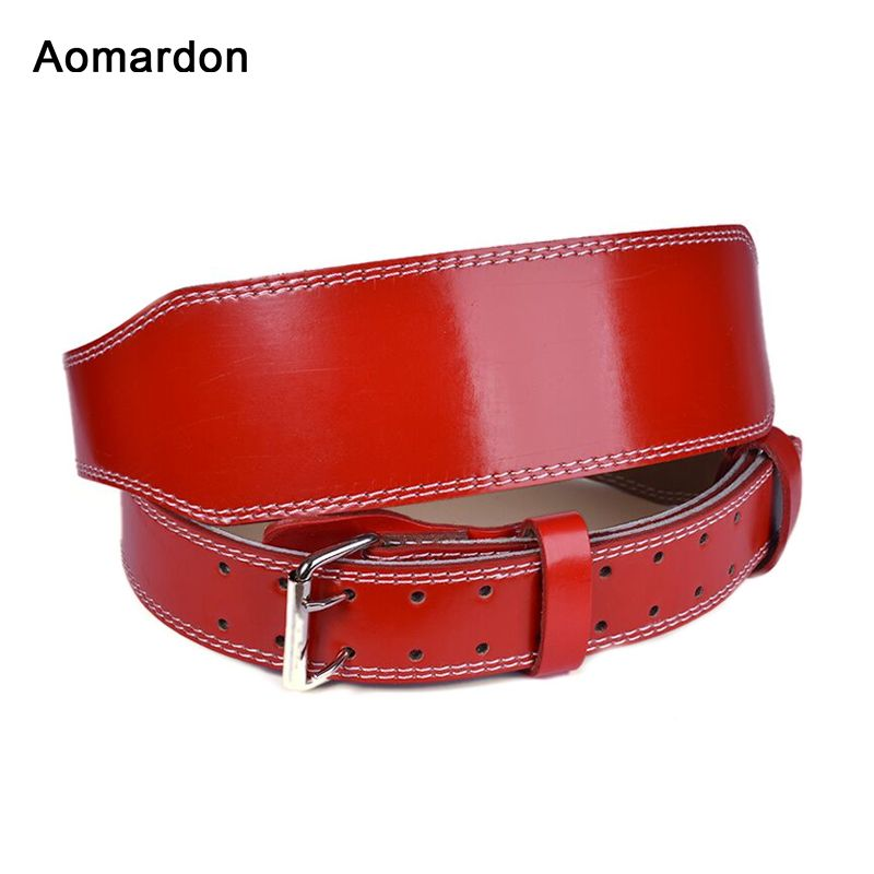 Aomardon Men Genuine Leather Weightlifting Belt Comfortable Safety Cowhide Back Support Gym Fitness Training Crossfit Equipment
