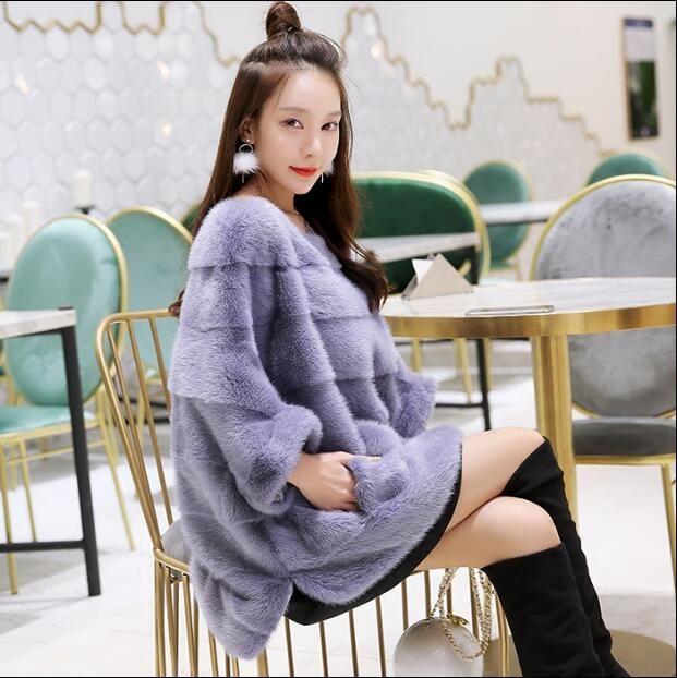Neue real nerz mantel frauen winter dicke warme natürliche pelz oberbekleidung echtem leder echtpelz jacke weibliche pullover