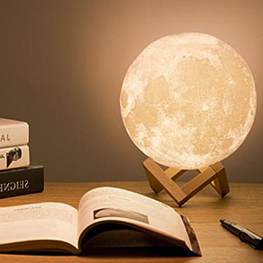 Tanbaby 3D Print Moon Lamp 2-Color Change Dimmable Night Light USB Rechargeable Night Lamp Desk Lamp For Bedroom Home Decoration