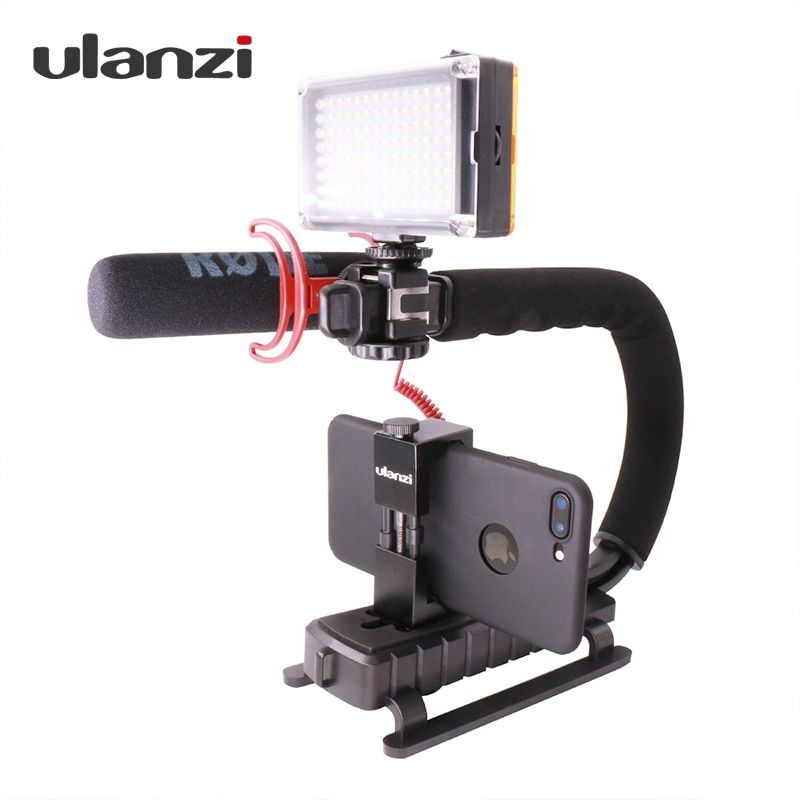Ulanzi U-<font><b>Grip</b></font> Triple Shoe Mount Video Action Stabilizing Handle <font><b>Grip</b></font> Rig for iPhone 8 X Gopro Smartphone Canon Sony DSLR Camera