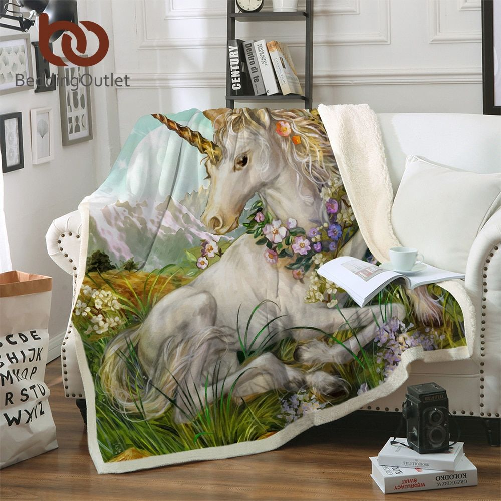 BeddingOutlet 3d Unicorn Blanket Watercolor Sherpa Blanket on Bed Kids Girl Flower Home Textiles Dreamlike mantas 150x200