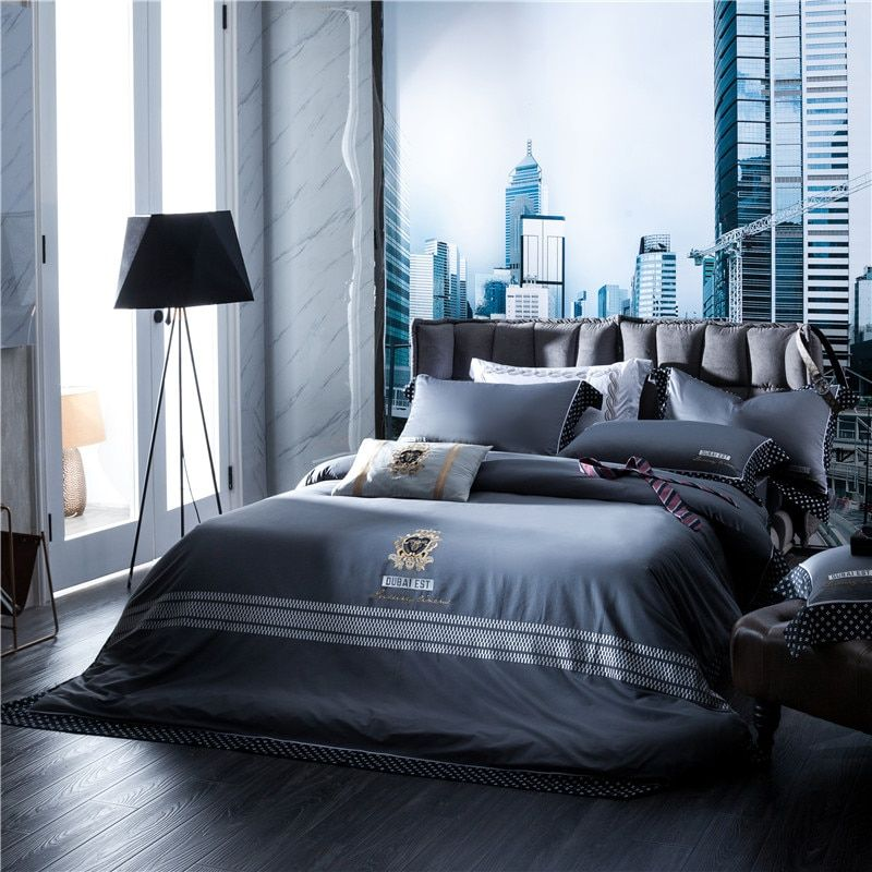 4pcs Bedding Set Queen KIng Size 100% Egyptian Cotton Sheets Bedclothes Duvet Cover Bed Sheet Set Embroidery Bedding Bed Linen