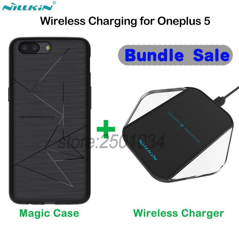 Original NILLKIN Phone Wireless Charger Charging Pad + Wireless Charging Receiver Case for Oneplus 5 One plus 5 Put and Charge