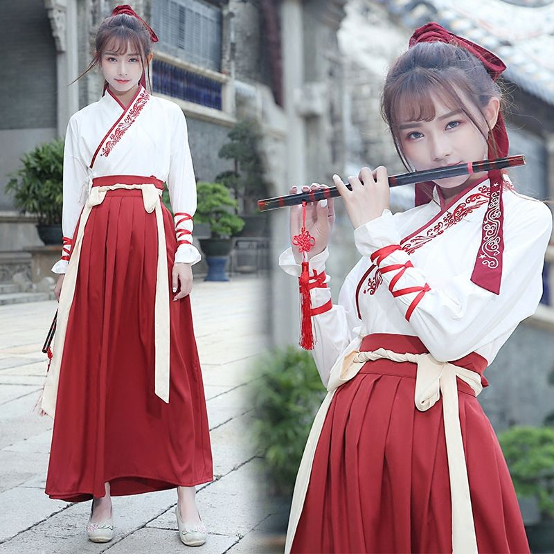 Chinese Traditional Dynasty Ancient Costume Women Hanfu Dress Folk Dance Hanfu Elements of Ancient Clothing for Women Costume