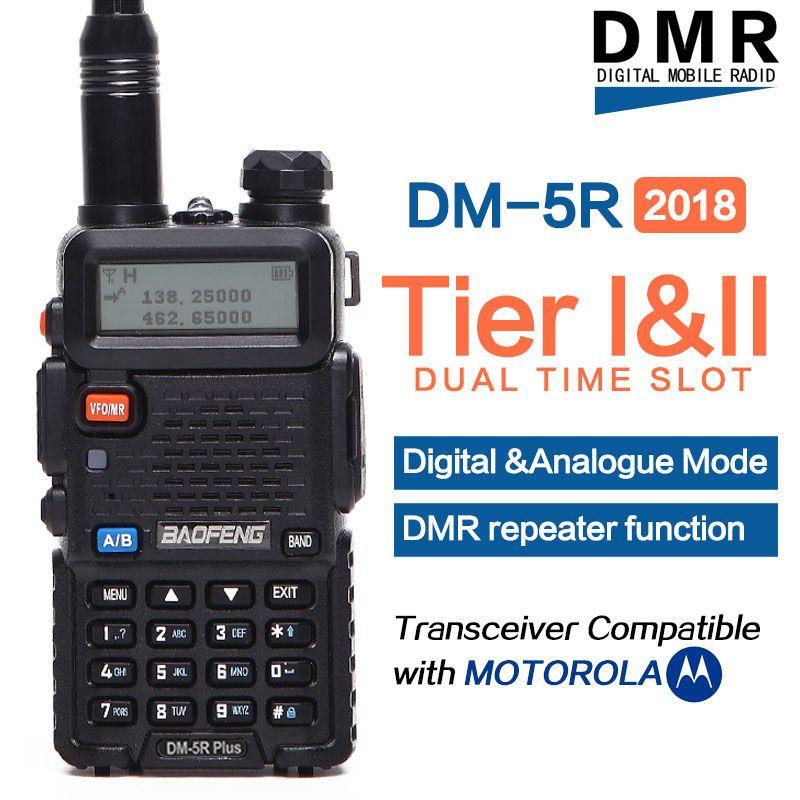 2018 Baofeng DM-5R plus Digital Walkie Talkie DMR Tier1 Tier2 Tier II Dual time slot Digital/Analog VHF/UHF Two way radio