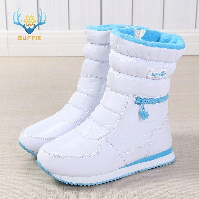 Bottes d'hiver femmes ladys chaussures chaudes botte de neige à l'intérieur mélangé laine naturelle couleur unie blanc BUFFIE 2019 belle recherche livraison gratuite