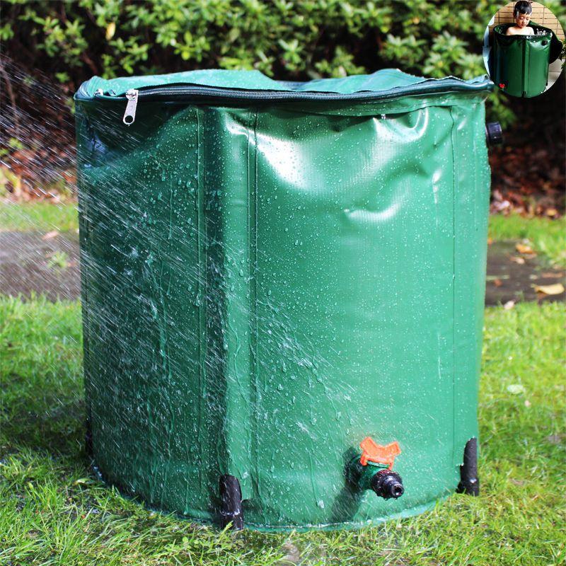 98L pluie baril pliable eau de pluie récolte réservoir d'eau jardin fort PVC pliable collecte réservoir conteneur avec ruissellement