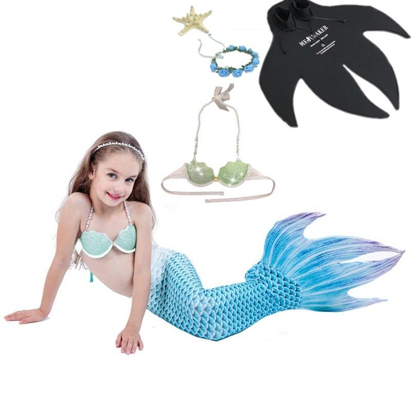 5pcs/set Children Mermaid Tail with Monofin Fin Girls Costumes Kids Swimming Mermaid Tail Kids Mermaid Swimsuit For girl