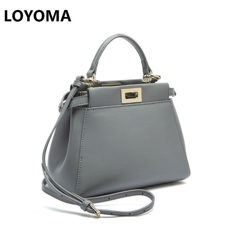 Women Messenger Bags Peekaboo Bag Handbags 2017 Luxury <font><b>Designer</b></font> Split Leather High Quality Purse Shoulder Bag Crossbody Tote