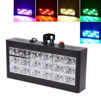 HNGCHOIGE 18 LED RGB/White Light Projector Strobe Light For DJ Club Disco KTV Stage Party Show US/EU Plug 0-25W