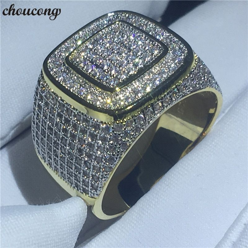 choucong 2018 Male HIP HOP Party Ring 274pcs 5A zircon cz Yellow Gold Filled 925 Silver Engagement Wedding rings For men Jewelry