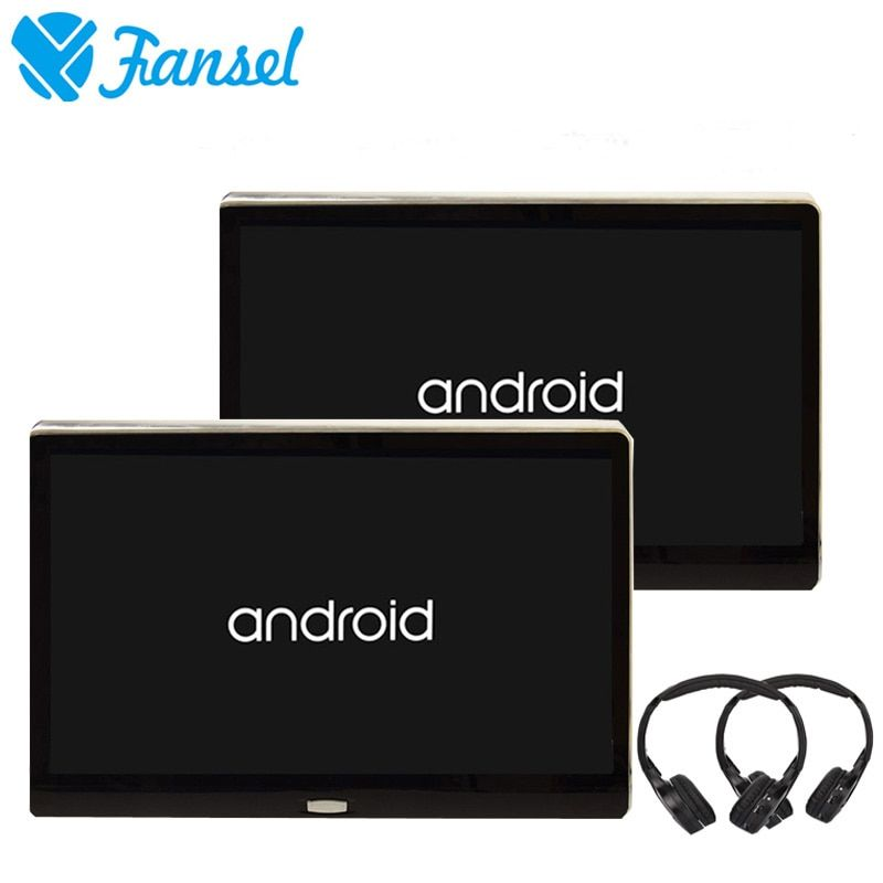 Fansel 2PCS 11.6 Inch Android 6.0 Car Headrest Monitor 1080P Video IPS Touch Screen 3G WIFI USB SD HDMI IR FM Bluetooth Speaker