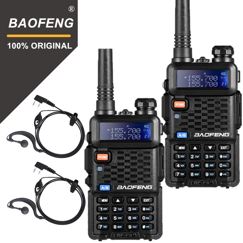 2PCS Original BaoFeng F8+ Long Distance Woki Toki Police Talkie Walkie 5km Range Two Way Radio Walky Talky Ham Radio HF Receiver