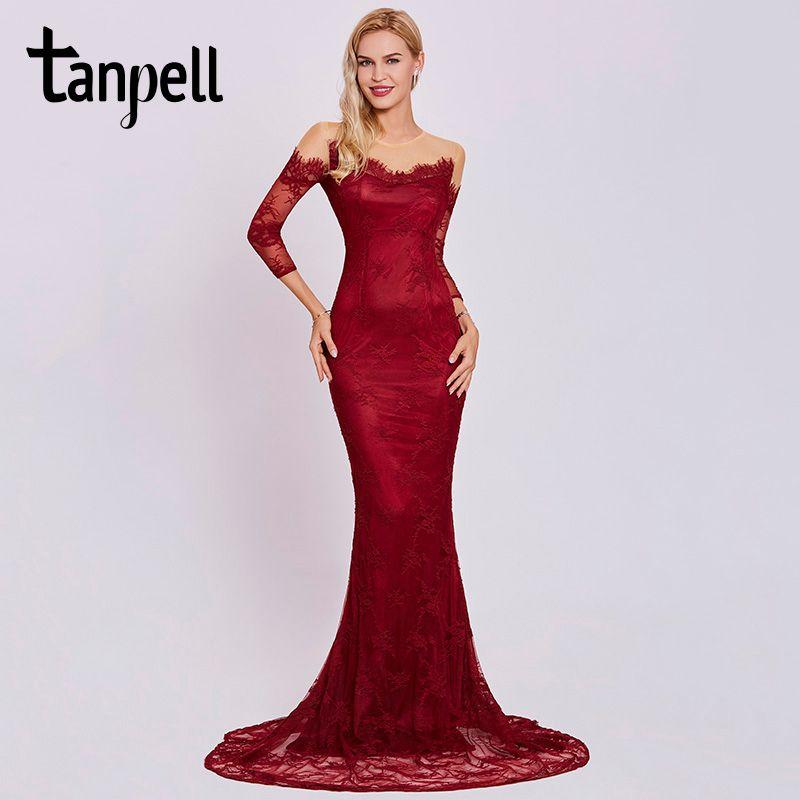 Tanpell scoop long evening dress burgundy full sleeves floor length sweep train gown women lace formal mermaid evening dresses