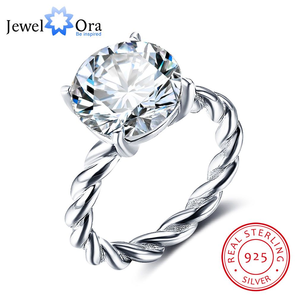 12mm Round Cubic Zirconia 925 Sterling Silver Wedding Jewelry Rings For Women Wedding Gift Ideas(JewelOra RI102325)