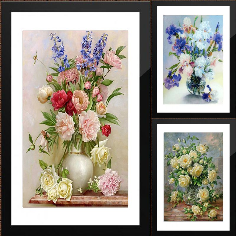 Flower arranging 5D DIY diamond Painting flowers <font><b>Cross</b></font> Stitch diamond embroidery mosaic diamonds wall stickers home decor vase