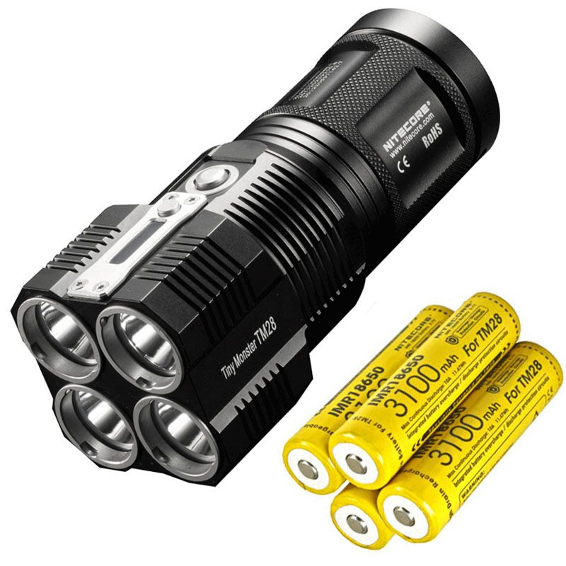 NITECORE TM28 4 *CREE XHP35 HI 6000LM beam distance 655M LED Flashlight with Charger and 4pcs 18650 3100mAh li-ion batteries