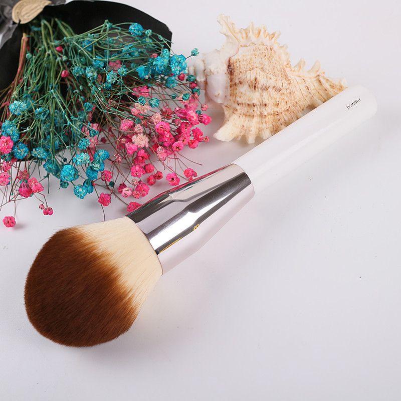 Pinceau à poudre de maquillage de grande taille haut de gamme marque lisse précision fond de teint impeccable pinceaux de couleur blanche