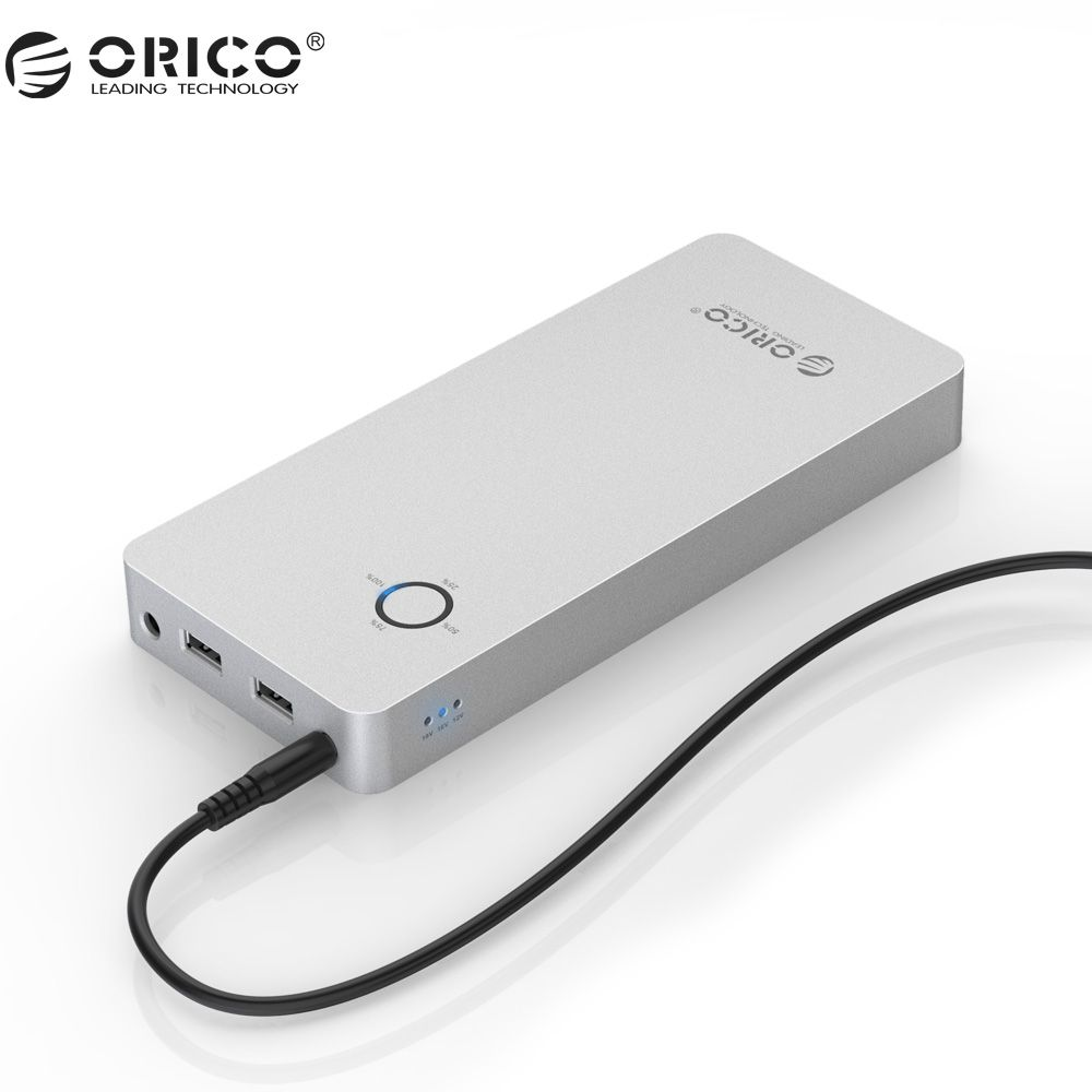 ORICO Aluminum Alloy Power Bank 28800mAh Dual USB Output One DC 12/15/19V Port Power Bank  With Power  Indicator For Laptop