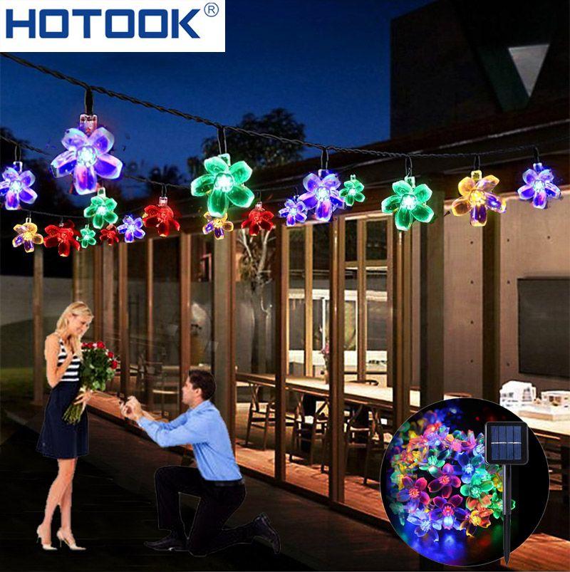 Lumières de noël Chaîne Solaire 50 LED 7 m 23ft Blossom Fleur Pelouse Jardin Decorationsfor Accueil Partie Extérieure De Mariage De Patio Vacances