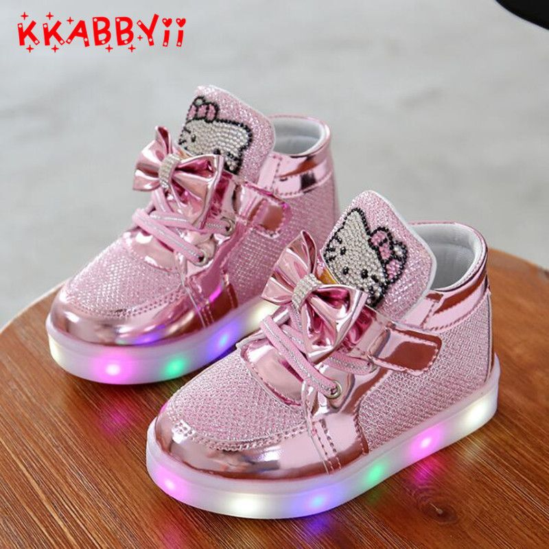 2018 New Spring Autumn Winter Children's Sneakers Kids Shoes Chaussure Enfant Hello Kitty Girls Shoes With LED Light EU 21-30