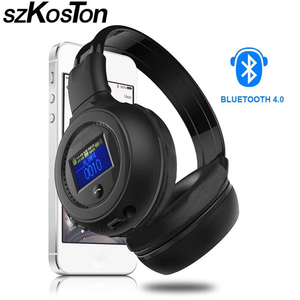 Bluetooth Беспроводной наушники с ЖК-дисплей Экран Multi-Функция строить-в HD MIC Bluetooth наушники TF слот для карты + fm Радио + mp3 2016