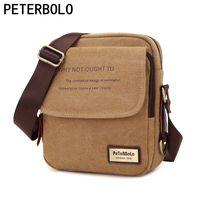 Peterbolo de alta calidad Retro Flip hombres bolsa de bolso de mano de lona de los hombres bolsa de hombro bolsa pequeña la bolsa de mensajero