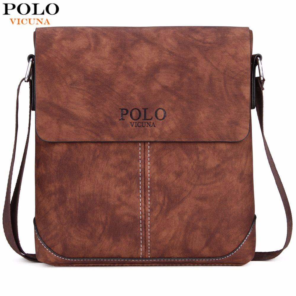 VICUNA POLO Vintage Panelled Men Messenger Bag Personality Contrast Color Crossbody Shoulder Bag For Man <font><b>Business</b></font> Man Handbag