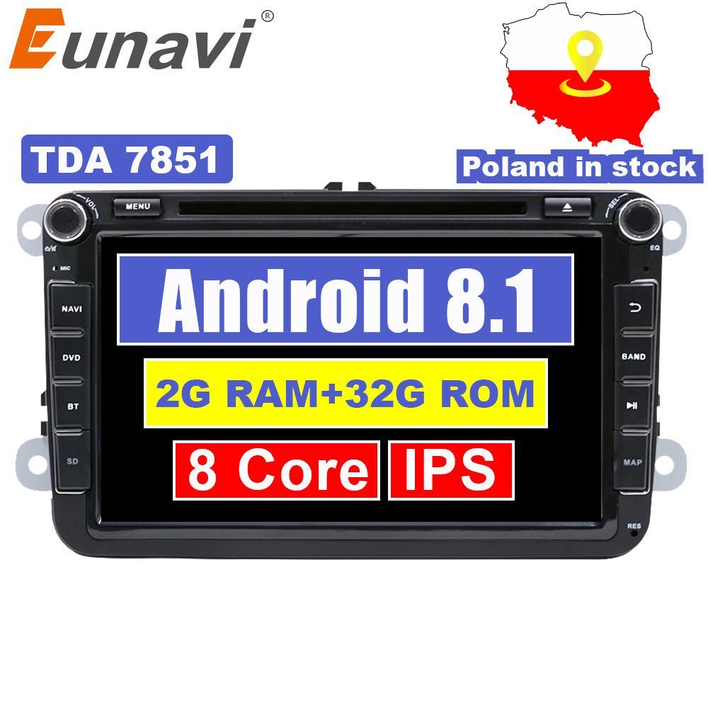 Eunavi 8 ''2 din Android 9 auto dvd radio für VW Volkswagen Polo Jetta passat b6 b7 cc fabia skoda touran golf 6 Tiguan GPS Navi